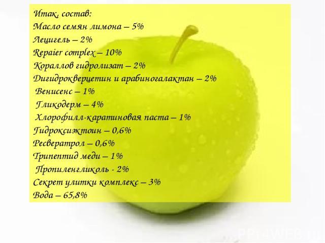 Итак, состав: Масло семян лимона – 5% Лецигель – 2% Repaier complex – 10% Кораллов гидролизат – 2% Дигидрокверцетин и арабиногалактан – 2% Венисенс – 1% Гликодерм – 4% Хлорофилл-каратиновая паста – 1% Гидроксиэктоин – 0,6% Ресвератрол – 0,6% Трипепт…