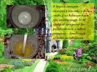 В другом стакане отмеряем изилюкс и воду и ставим на водяную баню, при температу