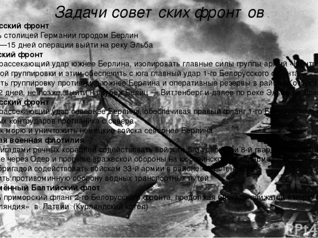 Задачи советских фронтов 1-й Белорусский фронт Овладеть столицей Германии городомБерлин Через 12—15 дней операции выйти на рекуЭльба 1-й Украинский фронт Нанести рассекающий удар южнее Берлина, изолировать главные силыгруппы армий «Центр»от берл…