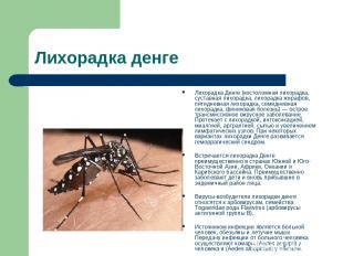 Лихорадка денге Лихорадка Денге (костоломная лихорадка, суставная лихорадка, лих