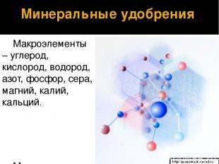 Макроэлементы – углерод, кислород, водород, азот, фосфор, сера, магний, калий, к