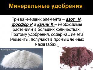 Три важнейших элемента – азот N, фосфор P и калий K – необходимы растениям в бол