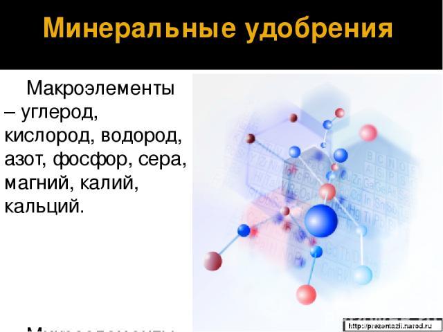 Макроэлементы – углерод, кислород, водород, азот, фосфор, сера, магний, калий, кальций. Микроэлементы – железо, марганец, бор, медь, цинк, молибден, кобальт и другие. Минеральные удобрения http://prezentazii.narod.ru