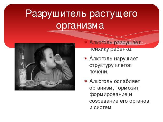 Разрушитель растущего организма Алкоголь разрушает психику ребенка. Алкоголь нарушает структуру клеток печени. Алкоголь ослабляет организм, тормозит формирование и созревание его органов и систем