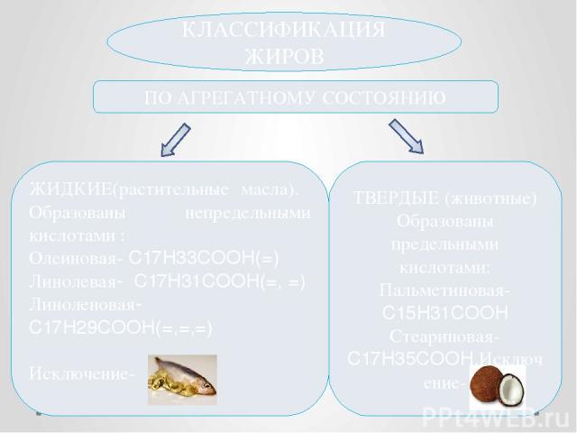 КЛАССИФИКАЦИЯ ЖИРОВ ПО АГРЕГАТНОМУ СОСТОЯНИЮ ЖИДКИЕ(растительные масла). Образованы непредельными кислотами : Олеиновая- C17H33COOH(=) Линолевая- C17H31COOH(=, =) Линоленовая-C17H29COOH(=,=,=) Исключение- ТВЕРДЫЕ (животные) Образованы предельными ки…