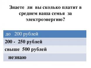Знаете ли вы сколько платит в среднем ваша семья за электроэнергию? до 200 рубле