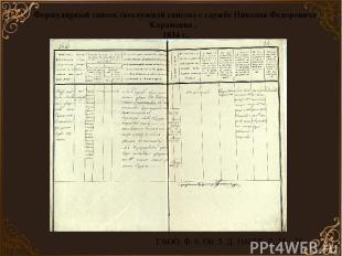 Формулярный список (послужной список) о службе Николая Федоровича Карамзина . 18
