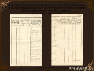 ЦГАСО. Ф. 155. Оп. 1. Д. 1304. Л. 118 об.– 122. Формулярный список (послужной сп