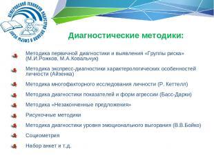 Методика первичной диагностики и выявления «Группы риска» (М.И.Рожков, М.А.Ковал