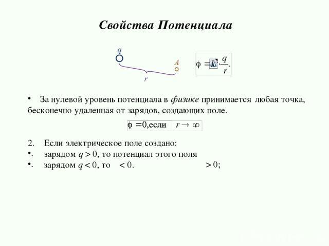 За нулевой уровень потенциала в физике принимается бесконечно удаленная от зарядов, создающих поле. Если электрическое поле создано: зарядом q > 0, то потенциал этого поля зарядом q < 0, то φ < 0. Свойства Потенциала любая точка, φ > 0;
