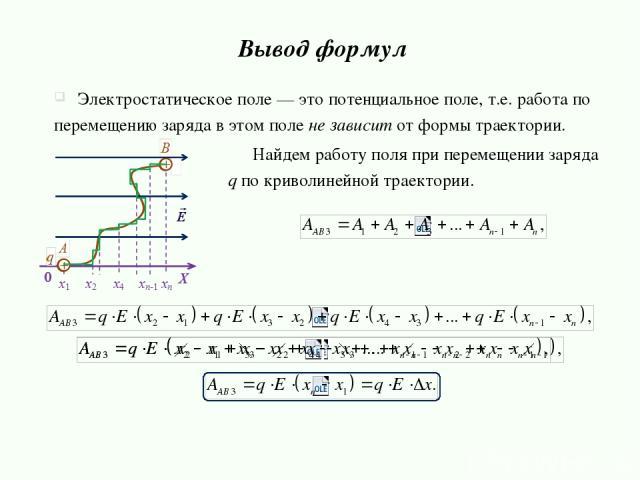 Вывод формул Электростатическое поле — это потенциальное поле, т.е. работа по перемещению заряда в этом поле не зависит от формы траектории. Найдем работу поля при перемещении заряда q по криволинейной траектории.