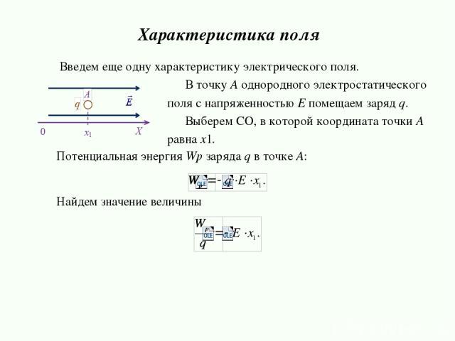 Потенциальная энергия Wp зарядa q в точке А: Найдем значение величины Характеристика поля В точку А однородного электростатического поля с напряженностью E помещаем заряд q. Выберем СО, в которой координата точки А равна x1. Введем еще одну характер…