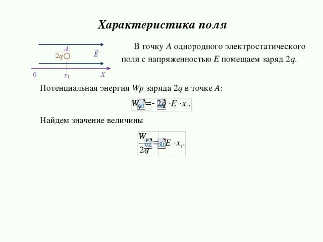 Потенциальная энергия Wp зарядa 2q в точке А: Найдем значение величины Характеристика поля В точку А однородного электростатического поля с напряженностью E помещаем заряд 2q.