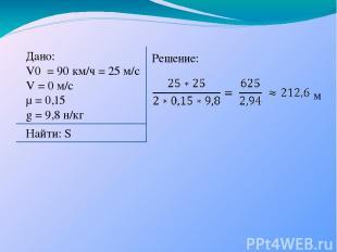 Дано: V0 = 90 км/ч = 25 м/с V = 0 м/с µ = 0,15 g = 9,8 н/кг Решение: Найти: S м