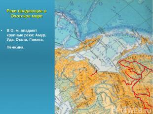 Реки впадающие в Охотское море В О. м. впадают крупные реки: Амур, Уда, Охота, Г