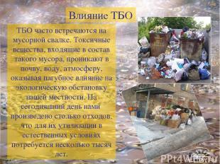 ТБО часто встречаются на мусорной свалке. Токсичные вещества, входящие в состав