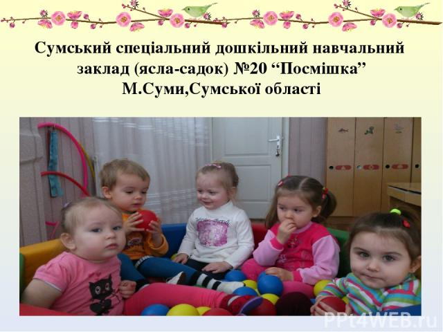 """Сумський спеціальний дошкільний навчальний заклад (ясла-садок) №20 """"Посмішка"""" М.Суми,Сумської області"""