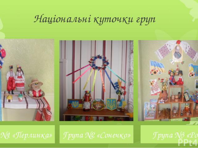 Національні куточки груп Група №1 «Перлинка» Група №2 «Сонечко» Група №3 «Росток»