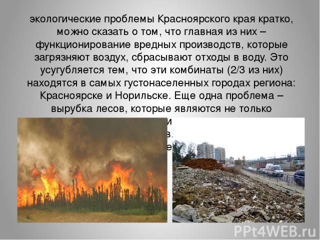 экологические проблемы Красноярского края кратко, можно сказать о том, что главная из них – функционирование вредных производств, которые загрязняют воздух, сбрасывают отходы в воду. Это усугубляется тем, что эти комбинаты (2/3 из них) находятся в с…