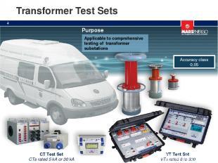 Transformer Test Sets VT Test Set VTs rated 6 to 330 kV CT Test Set CTs rated 5