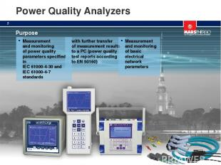 Power Quality Analyzers Purpose Measurement and monitoring of power quality para
