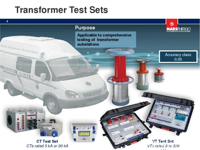 Transformer Test Sets VT Test Set VTs rated 6 to 330 kV CT Test Set CTs rated 5 kA or 30 kA Applicable to comprehensive testing of transformer substations Purpose Accuracy class 0,05 *