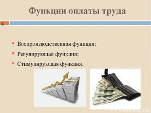 Функции оплаты труда Воспроизводственная функция; Регулирующая функция; Стимулир