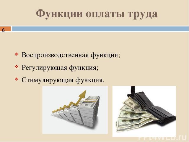 Функции оплаты труда Воспроизводственная функция; Регулирующая функция; Стимулирующая функция.