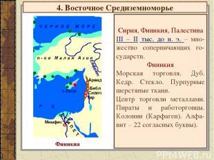 4. Восточное Средиземноморье Сирия, Финикия, Палестина III – II тыс. до н. э. –