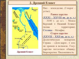 2. Древний Египет Нил – земледелие. (I порог – устье). Раннее царство (XXXI – XX