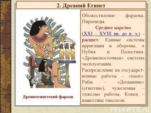 2. Древний Египет Обожествление фараона. Пирамиды. Среднее царство (XXI – XVIII