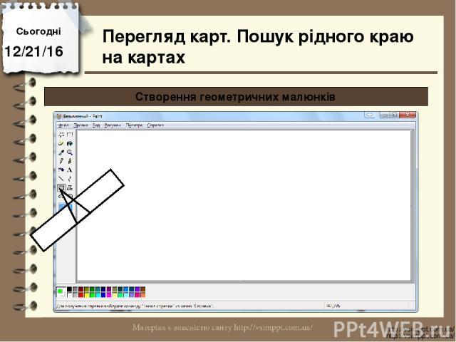 Сьогодні http://vsimppt.com.ua/ http://vsimppt.com.ua/ Перегляд карт. Пошук рідного краю на картах Створення геометричних малюнків