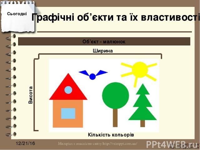 Сьогодні http://vsimppt.com.ua/ http://vsimppt.com.ua/ Графічні об'єкти та їх властивості Об'єкт - малюнок Ширина Висота Кількість кольорів