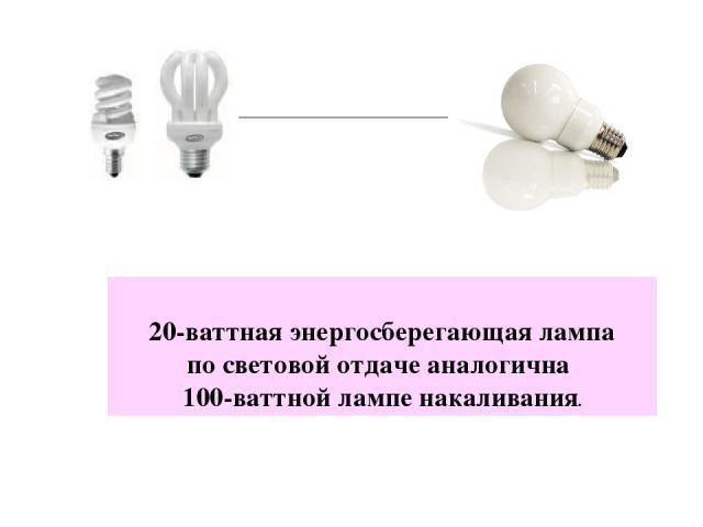 20-ваттная энергосберегающая лампа по световой отдаче аналогична 100-ваттной лампе накаливания.