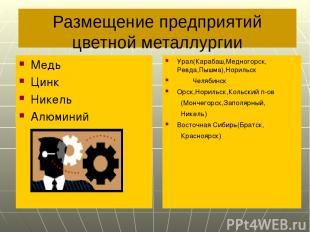 Размещение предприятий цветной металлургии Медь Цинк Никель Алюминий Урал(Караба