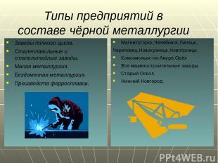 Типы предприятий в составе чёрной металлургии Заводы полного цикла. Сталеплавиль
