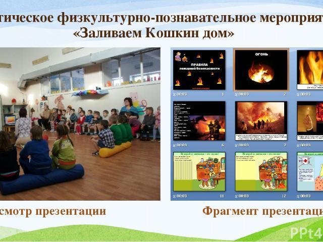 Тематическое физкультурно-познавательное мероприятие «Заливаем Кошкин дом» Просмотр презентации Фрагмент презентации