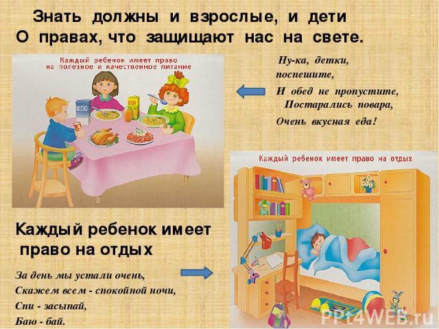 Знать должны и взрослые, и дети О правах, что защищают нас на свете. Ну-ка, детки, поспешите, И обед не пропустите, Постарались повара, Очень вкусная еда! За день мы устали очень, Скажем всем - спокойной ночи, Спи - засыпай, Баю - бай. Каждый ребено…