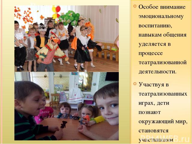 Особое внимание эмоциональному воспитанию, навыкам общения уделяется в процессе театрализованной деятельности. Участвуя в театрализованных играх, дети познают окружающий мир, становятся участниками событий из жизни людей, животных растений. Тематика…