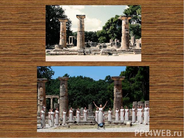 Храм Геры Наиболее древний из всех многих храмов Греции, расположенных в Олимпии. Это Храм Геры, дату его строительства относят к 600 году до нашей эры. Наиболее распространённая версия, что храм олимпийцам подарили жители Элиды. До наших дней сохра…