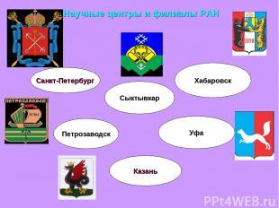 Научные центры и филиалы РАН Санкт-Петербург Петрозаводск Казань Уфа Хабаровск С