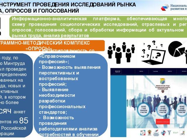 IT – ИНСТРУМЕНТ ПРОВЕДЕНИЯ ИССЛЕДОВАНИЙ РЫНКА ТРУДА, ОПРОСОВ И ГОЛОСОВАНИЙ В 2016 году, по поручению Минтруда России, был проведен опрос по определению востребованных на рынке труда, новых и перспективных профессий, в котором получено более 20 тысяч…
