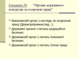 """Стаття 38 """"Органи державного контролю за охороною праці"""" Виконавчий орган з нагл"""