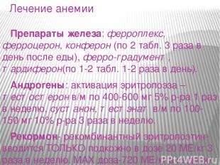 Лечение анемии Препараты железа: ферроплекс, ферроцерон, конферон (по 2 табл. 3