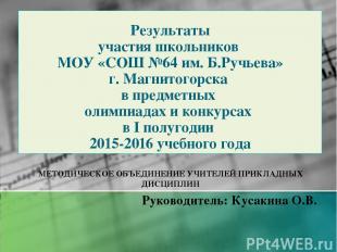 Результаты участия школьников МОУ «СОШ №64 им. Б.Ручьева» г. Магнитогорска в пре