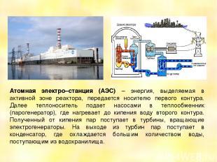 Атомная электро–станция (АЭС) – энергия, выделяемая в активной зоне реактора, пе