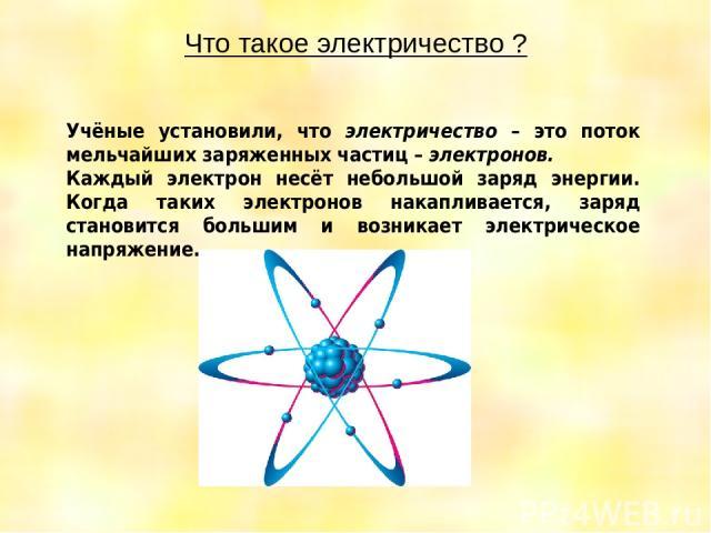 Что такое электричество ? Учёные установили, что электричество – это поток мельчайших заряженных частиц – электронов. Каждый электрон несёт небольшой заряд энергии. Когда таких электронов накапливается, заряд становится большим и возникает электриче…