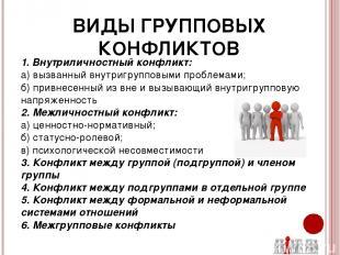 ВИДЫ ГРУППОВЫХ КОНФЛИКТОВ 1. Внутриличностный конфликт: а) вызванный внутригрупп