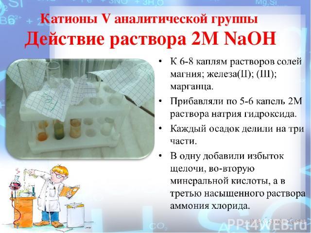 Катионы V аналитической группы Действие раствора 2М NaOH