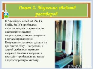 Опыт 2. Изучение свойств растворов